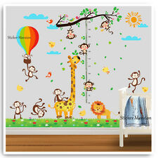 Animal Height Chart Wall Stickers Decals Monkey Jungle Nursery Baby Room Art