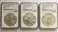 2017 (P) (W) (S) Silver Eagle Ngc Ms69 3 Coin Set Low Mintage Philly Brown Label