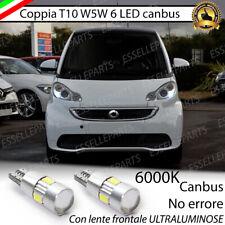 COPPIA LUCI DI POSIZIONE T10 W5W 6 LED SMART FORTWO 451 NO AVARIA LUCI 6000K