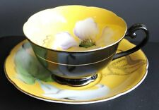 LOVELY BLACK AND YELLOW FLOWER CASTLE CHINA OCCUPIED JAPAN PORCELAIN TEA CUP