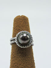 David Yurman R0929ssbtg Gray Pearl Cable Rim Sterling Silver Ring 6