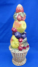 "Art Pottery FRUIT TOWER Figurine Decanter Table Decor HP Italy 12.5"" Stopper"