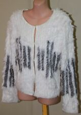 Womens Stunning White and Grey Rabbit Fur Cardi - Elliatt - Size S