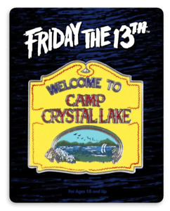 """""""FRIDAY THE 13TH"""" WELCOME TO CAMP CRYSTAL LAKE PIN, MONDO *SOLD OUT*"""