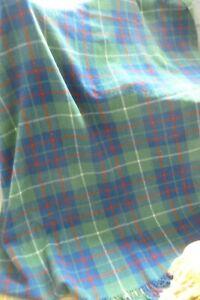 Vintage large Ancient Hunting MacIntyre green tartan wool sofa throw bedspread