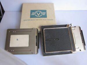 Hasselblad Adapter Back 41017 w 2 cut film Holders Original Box Nice Condition