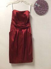 Bridesmaids dress size 4 deep red DAVIDS BRIDAL strapless
