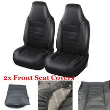 Gray/Black Car Front Seat Cover PU Leather Universal Seat Cushion Set Protector