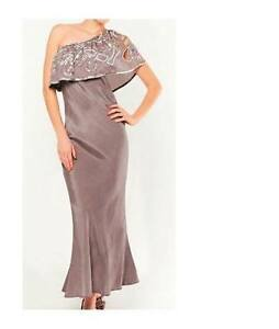 WOMAN'S NEW OFF THE SHOULDER FRILL MAXI DRESS EVENING TAUPE PINK SIZE 10 12