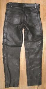 """Heavy Men's Lace-Up Leather Jeans / Biker Trousers IN Black W32 """" / L33 """""""