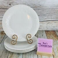 Gibson FRUIT OFF WHITE White Stoneware Raised Embossed Fruit Dinner Plates Set 4