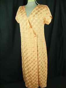 Antique 30s Handmade Orange Silk Plaids Wrapped Dress-Bust 36/S