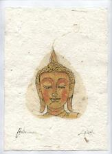 Original Ink and Oil with Bodhi Leaf   Buddha Image    Vientiane Laos       BL04