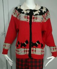 Vintage Hand Knit Womens Sz L Sweater Scottie Dogs Red Tartan Cardigan Sweater