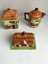 More details for beswick ware cottage teapot butter dish square jar set of 3 ch