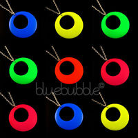 FUNKY LARGE ROUND HOOP NECKLACE KITSCH COOL DISCO RAVE 60s 70s 80s 90s STYLE FUN