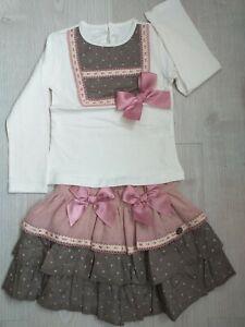 *New Winter* Frilly Romany Spanish Girls Frilly Skirt Set Dusky Pink Age 6