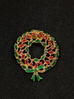 Vintage Gold Tone Red Green Enamel Open Christmas Wreath Pin Brooch 13091