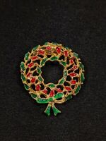Vintage Gold Tone Red Green Enamel Open Christmas Wreath Pin Brooch 13091