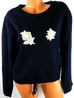 Onque casuals blue floral embroidered beaded kangaroo long sleeve knit top XL