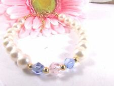 Bracelet Adorned with Swarovski Light Blue and Pink Crystals and Pearls