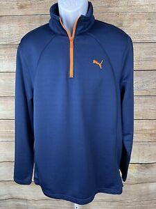 PUMA Men's Golf Size Large 1/4 Zip Long Sleeve Pullover Shirt Jacket Blue Orange