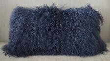 Mongolian Tibetan Lamb Dark Blue Fur Pillow Navy New usa made Real Tibet cushion