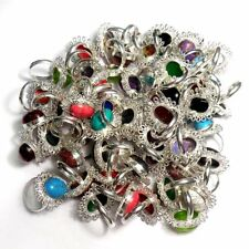 Big Offer Lot 100 PCs. Turquoise & Coral Gemstone 925 Silver Plated Ring Jewelry