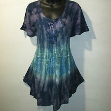 Top Fits 1X 2X 3X Plus Purple Blue Green Stamp Art Lace Up  A Shaped NWT G7875
