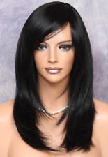 Long Straight Everyday Full Wig Off Black Bangs CLO 1B Hairpiece Heat OK