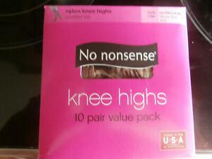 10 Pair No Nonsense Nylon Knee Highs Size One Tan/Medium Sheer Toe Comfort Top