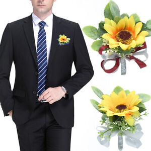 Yellow Artificial Sunflower Groom Boutonniere Corsage Wrist Flower Wedding Decor