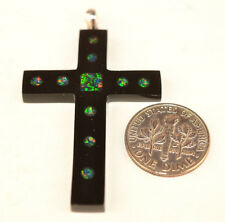 BLACK CROSS WITH INLAID OPAL MOSAIC 2 INCH PENDANT