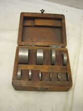 Antique Set Apothecary Balance Weights Gold Scale w/Box Pharmacy Disc Bar Type