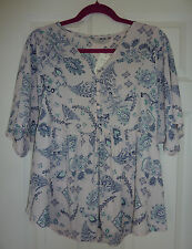 George pale lilac loose fit blouse top Size 14 floral pattern navy & mint BNWT