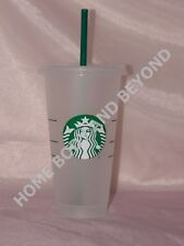 STARBUCKS Reusable Venti 24 OZ Frosted Ice Cold Drink Cup With Lid & Straw