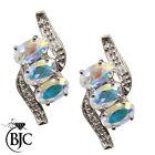 BJC 9ct oro bianco MISTICA TOPAZIO & Orecchini a lobo con diamante borchie ER82