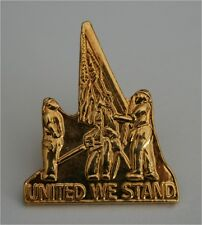 9/11/01 WORLD TRADE CENTER REMEMBRANCE PIN UNITED WE STAND LAPEL YELLOW
