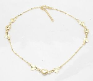 Adjustable Cable Chain Puffed Heart Ankle Bracelet Anklet Real 14K Yellow Gold