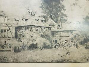 Radierung Jacobihaus /Malkasten Düsseldorf Richard Bloos um 1927 Pos.P