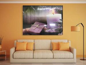 LED Lighted Candle Art Design Canvas Painting Oil Print Light up Decor Framed UK