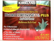 4 (2 oz) Tubes Kirkland Maximum Strength Hydrocortisone 1% Anti-Itch Cream