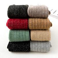 5 Pack Womens Wool Angola Cotton Crew Socks Fashion Shiny Silk Warm Solid Boot