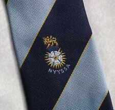 Club Asociación Sociedad Corbata Blanco Rosa León Crest Motif Azul Marino A Rayas 1990s