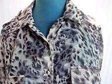 TEMT Sz 10 grey leopard print sheer,1/2 sleeve+roll up tab top,VGC,2 pockets,