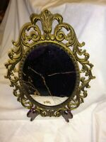 Antique Victorian Ornate Oval Brass Mirror Gold Color Decorative Glass Baroque
