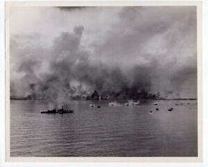 1944 Bombardment of Peleliu Invasion Beaches 8x10 Original News Photo