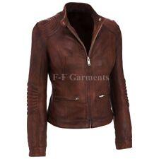 Womens Cafe Racer Moto Biker Distressed Brown Vintage Real Leather Jacket L