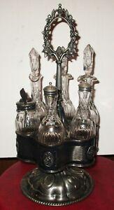 Antique 1860 Silver Plate Matching 6 piece Cruet Castor Set