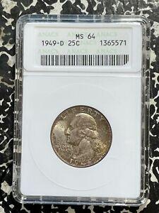 1949-D U.S. Washington Quarter ANACS MS64 Lot#G675 Silver! Choice UNC!